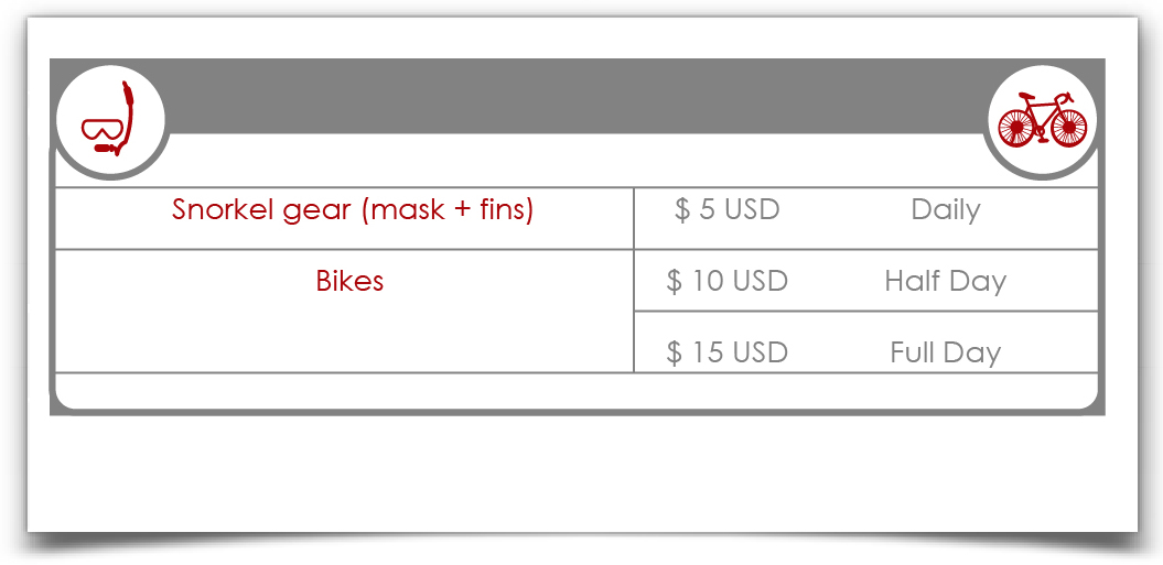 Snorkel Gear & Bikes prices